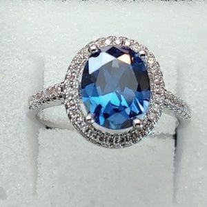 Jewelry - 925 STERLING SILVER BLUE DIAMOND SAPPHIRE ~ 9